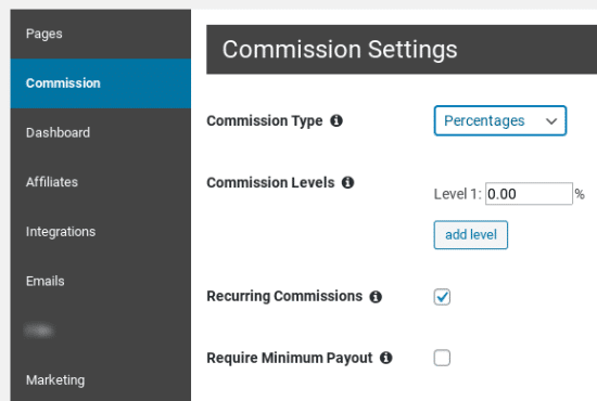 Setting the commission for your Affiliate Royale affiliates