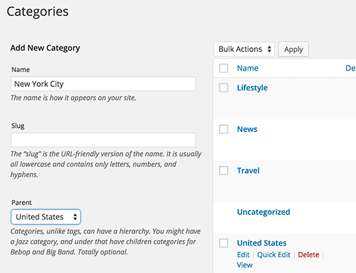 Adding child category from categories page