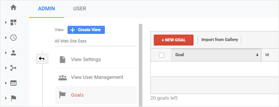Adding your new goal in Google Analytics