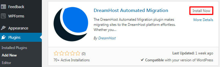 Alt text: Installing DreamHost Automated Migration plugin