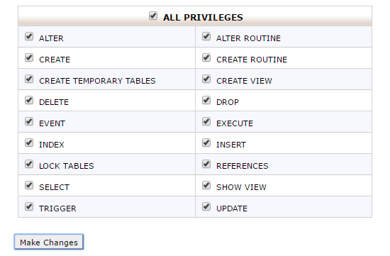 grant all privileges to database user